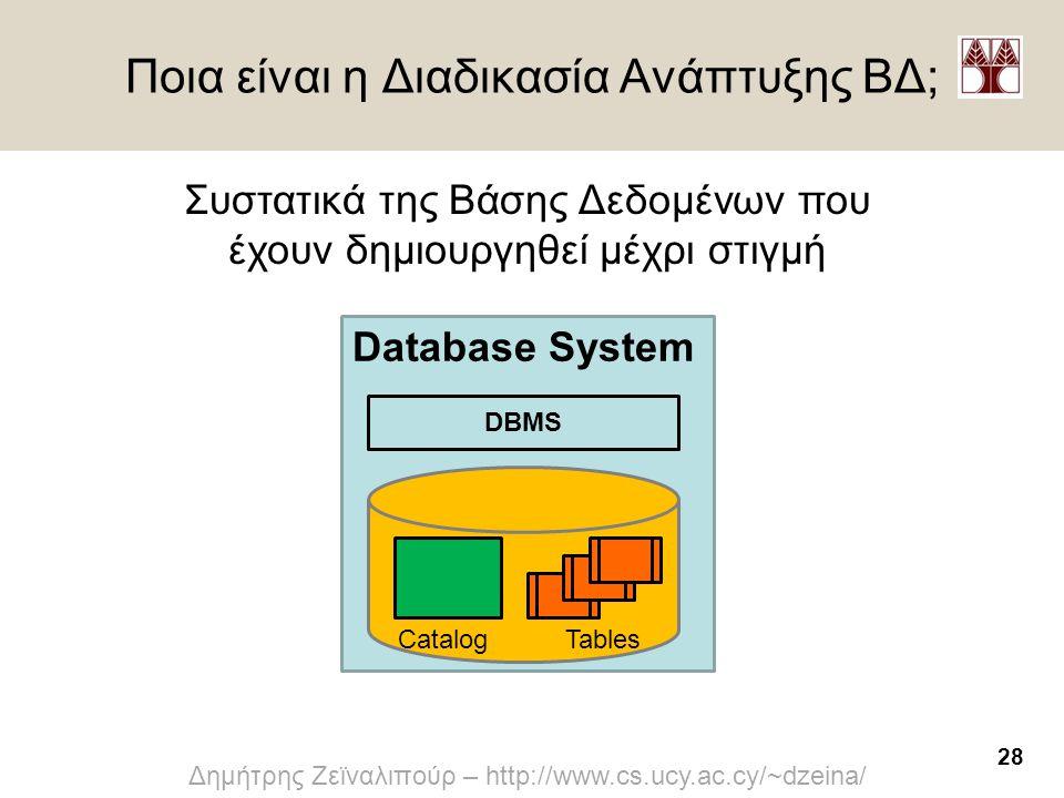 28 Δημήτρης Ζεϊναλιπούρ – http://www.cs.ucy.ac.cy/~dzeina/ Ποια είναι η Διαδικασία Ανάπτυξης ΒΔ; Database System CatalogTables DBMS Συστατικά της Βάση