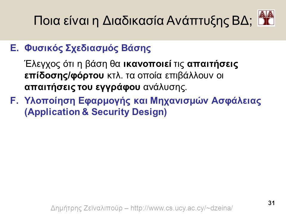 31 Δημήτρης Ζεϊναλιπούρ – http://www.cs.ucy.ac.cy/~dzeina/ Ποια είναι η Διαδικασία Ανάπτυξης ΒΔ; E.Φυσικός Σχεδιασμός Βάσης Έλεγχος ότι η βάση θα ικαν