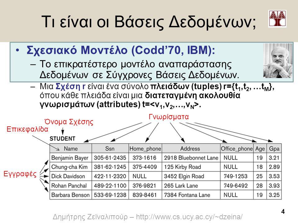 4 Δημήτρης Ζεϊναλιπούρ – http://www.cs.ucy.ac.cy/~dzeina/ Τι είναι οι Βάσεις Δεδομένων; Γνωρίσματα Εγγραφές Επικεφαλίδα •Σχεσιακό Μοντέλο (Codd'70, ΙΒ