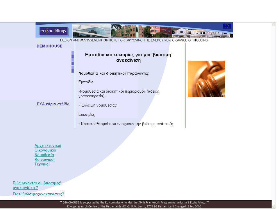 Νομοθεσία και διοικητικοί παράγοντες Εμπόδια •Νομοθεσία και διοικητικοί περιορισμοί (άδειες, γραφειοκρατία). • Έλλειψη νομοθεσίας Ευκαιρίες • Κρατικοί