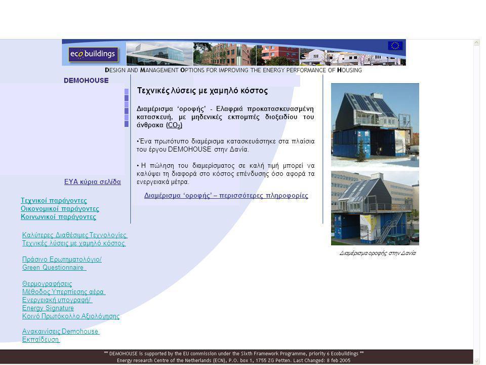 Τεχνικές λύσεις με χαμηλό κόστος Διαμέρισμα 'οροφής' - Ελαφριά προκατασκευασμένη κατασκευή, με μηδενικές εκπομπές διοξειδίου του άνθρακα (CO 2 ) •Ένα