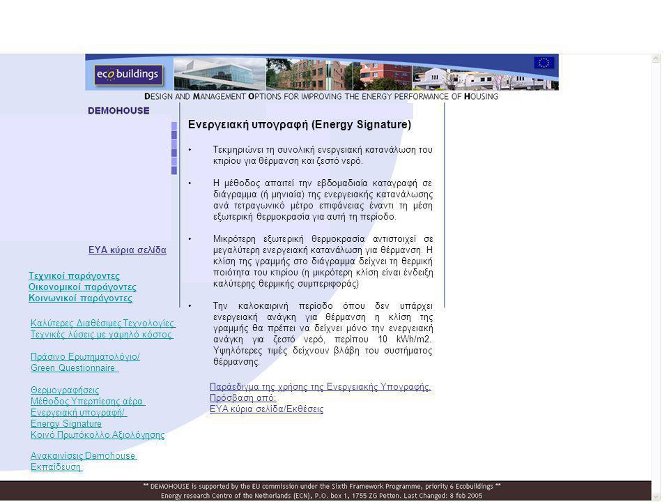 Ενεργειακή υπογραφή (Energy Signature) •Τεκμηριώνει τη συνολική ενεργειακή κατανάλωση του κτιρίου για θέρμανση και ζεστό νερό. •Η μέθοδος απαιτεί την