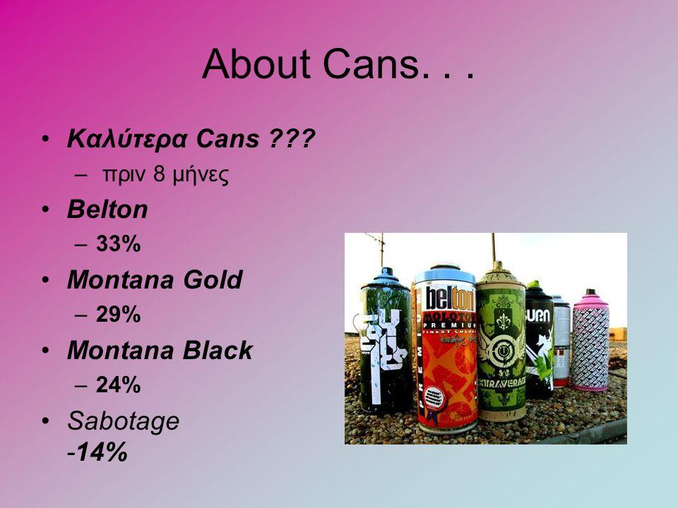 About Cans... •Καλύτερα Cans ??? – πριν 8 μήνες •Belton –33% •Montana Gold –29% •Montana Black –24% •Sabotage -14%