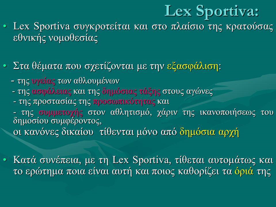 Lex Sportiva: •Κατά την άποψή μας: -Η θεωρία της Lex Mercatoria και η κατ' αναλογία αυτής της Lex Sportiva στην εθνική αθλητική έννομη τάξη, δεν μπορε