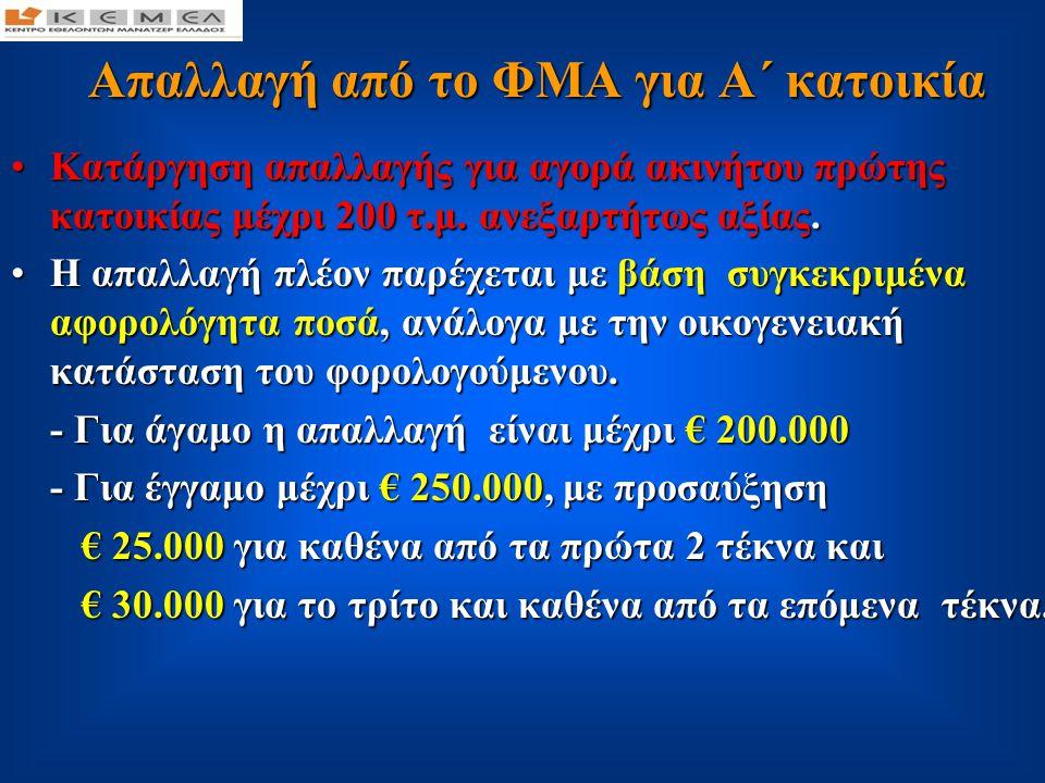 Απαλλαγή από το ΦΜΑ για Α΄ κατοικία Απαλλαγή από το ΦΜΑ για Α΄ κατοικία •Για αγορά οικοπέδου, παρέχεται απαλλαγή - για άγαμο μέχρι €50.000 και - για έγγαμο μέχρι €100.000, ενώ τα ποσά αυτά προσαυξάνονται κατά €10.000 για καθένα από τα δύο πρώτα τέκνα και €15.000 για το τρίτο και καθένα από τα επόμενα.