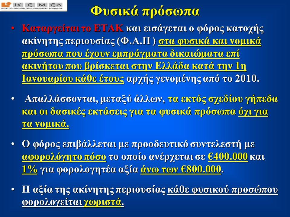 Κλίμακα φυσικών προσώπων Κλίμακα φυσικών προσώπων Ειδικά για τα έτη 2010, 2011 και 2012 ο συντελεστής για περιουσία άνω των €5.000.000 ορίζεται σε 2%.