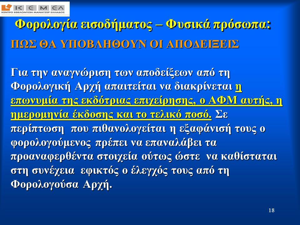 19 : Φορολογία εισοδήματος – Φυσικά πρόσωπα : Εκπτώσεις από το εισόδημα Καταργείται η έκπτωση από το εισόδημα των ακόλουθων δαπανών: •Ασφάλιστρα ζωής ή θανάτου, προσωπικών ατυχημάτων και ασθένειας, •Ενοίκιο κύριας κατοικίας εκτός Νομών Αττικής ή Θεσσαλονίκης στην περίπτωση μετεγκατάστασης, •Χρηματικές Δωρεές προς το δημόσιο, ιερούς ναούς κλπ καθώς και χορηγίες, •Δαπάνες αλλαγής καυστήρα, εγκατάστασης φυσικού αερίου κλπ, •Δαπάνες για δεξιώσεις γάμων, βαφτίσεων, ταβέρνες κλπ (λαμβάνονται υπόψη για την κάλυψη του αφορολογήτου του πρώτου κλιμακίου), •Αμοιβές που καταβάλλονται σε δικηγόρους.
