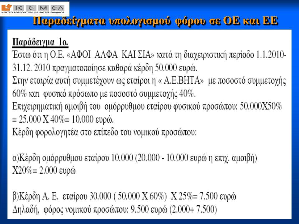 49 Παραδείγματα υπολογισμού φόρου σε ΟΕ και ΕΕ Παραδείγματα υπολογισμού φόρου σε ΟΕ και ΕΕ