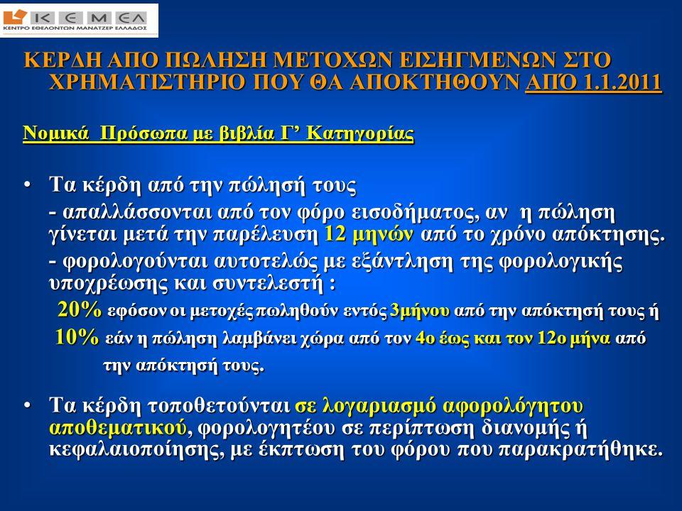ΚΕΡΔΗ ΑΠΟ ΠΩΛΗΣΗ ΜΕΤΟΧΩΝ ΕΙΣΗΓΜΕΝΩΝ ΣΤΟ ΧΡΗΜΑΤΙΣΤΗΡΙΟ ΠΟΥ ΘΑ ΑΠΟΚΤΗΘΟΥΝ ΑΠΌ 1.1.2011 Νομικά Πρόσωπα με βιβλία Γ' Κατηγορίας Νομικά Πρόσωπα με βιβλία Γ' Κατηγορίας (συνέχεια) •Η ζημιά δεν εκπίπτει από τα ακαθάριστα έσοδα της επιχείρησης, αλλά εμφανίζεται στο αφορολόγητο αποθεματικό, με σκοπό τον συμψηφισμό μελλοντικών κερδών από την πώληση μετοχών εισηγμένων στο Χρηματιστήριο.