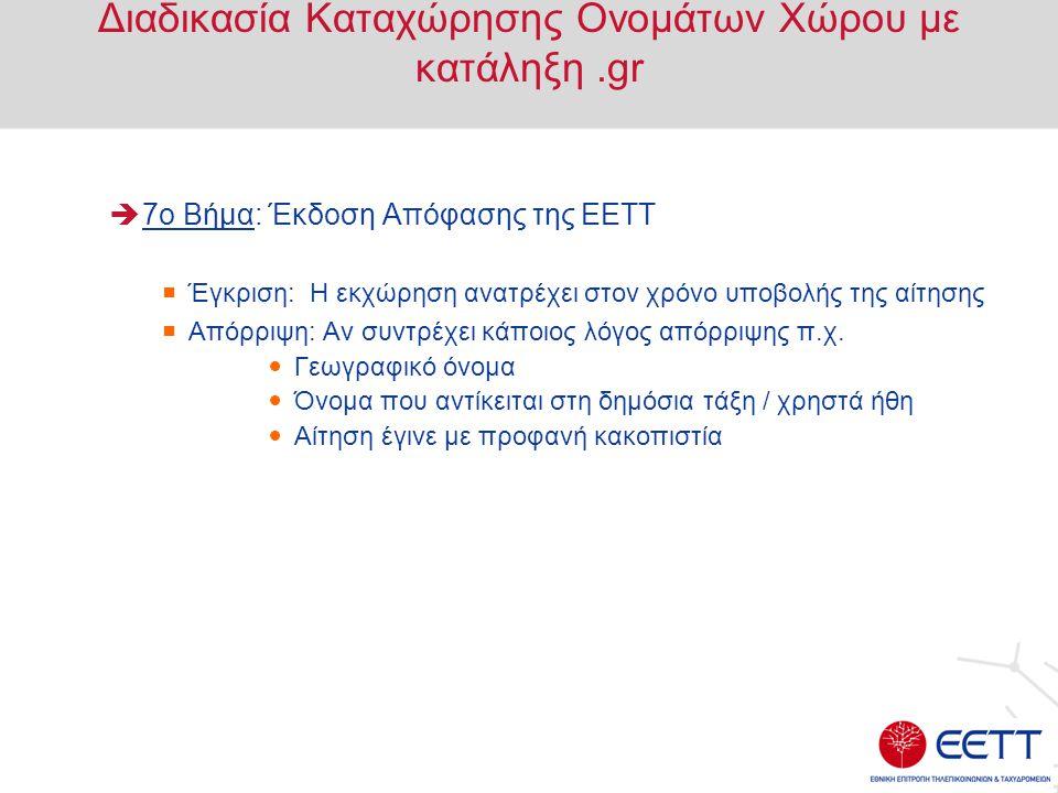 Διαδικασία Καταχώρησης Ονομάτων Χώρου με κατάληξη.gr  7ο Βήμα: Έκδοση Απόφασης της ΕΕΤΤ  Έγκριση: Η εκχώρηση ανατρέχει στον χρόνο υποβολής της αίτησ