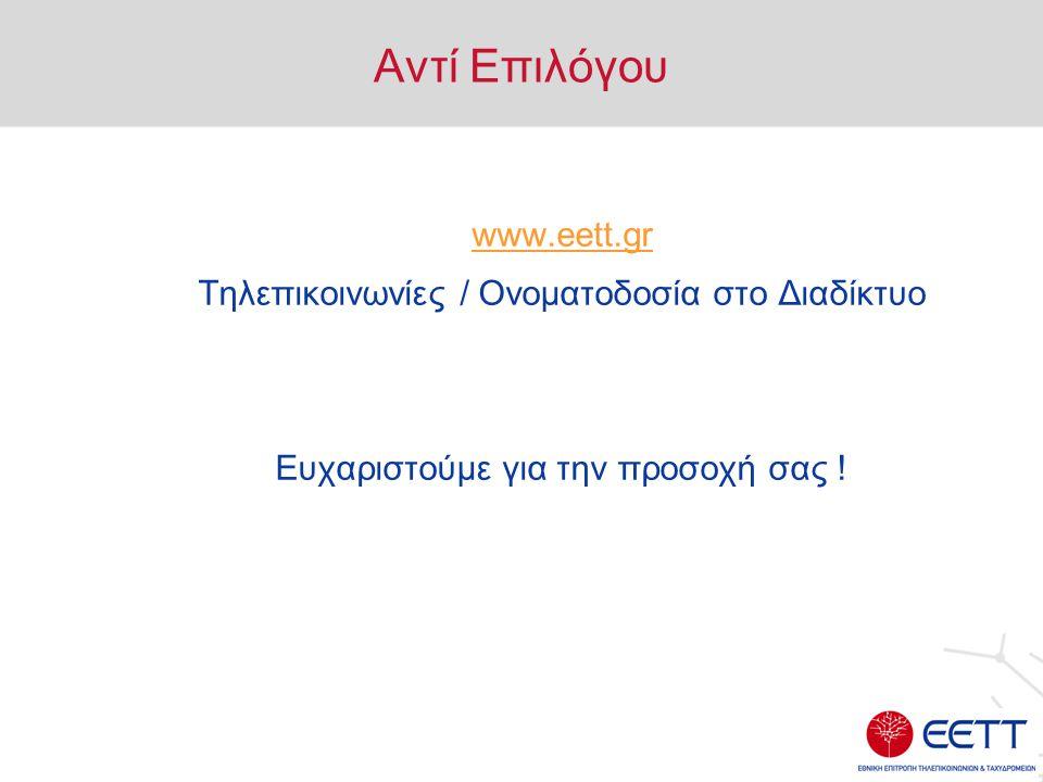 Αντί Επιλόγου www.eett.gr Τηλεπικοινωνίες / Ονοματοδοσία στο Διαδίκτυο Ευχαριστούμε για την προσοχή σας !