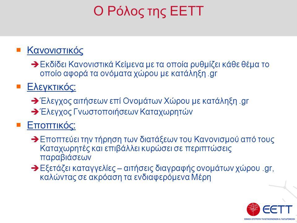 O Ρόλος της ΕΕΤΤ  Κανονιστικός  Εκδίδει Κανονιστικά Κείμενα με τα οποία ρυθμίζει κάθε θέμα το οποίο αφορά τα ονόματα χώρου με κατάληξη.gr  Ελεγκτικ