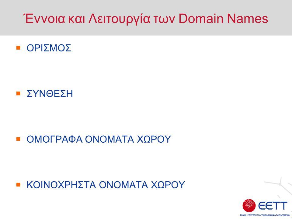 Έννοια και Λειτουργία των Domain Names  Ορισμός : Το Όνομα Χώρου (Domain Name) είναι μία συστοιχία αλφαριθμητικών στοιχείων, η οποία συνιστά την ταυτότητα ενός η/υ στο Διαδίκτυο και επιτρέπει τη χρήση πρωτοκόλλων ή/και υπηρεσιών (ανάρτηση ιστοσελίδας, δημιουργία διεύθυνσης ηλεκτρονικού ταχυδρομείου κ.α.)  Το Όνομα Χώρου είναι η δήλωση της διαδικτυακής ταυτότητας μίας επιχείρησης.