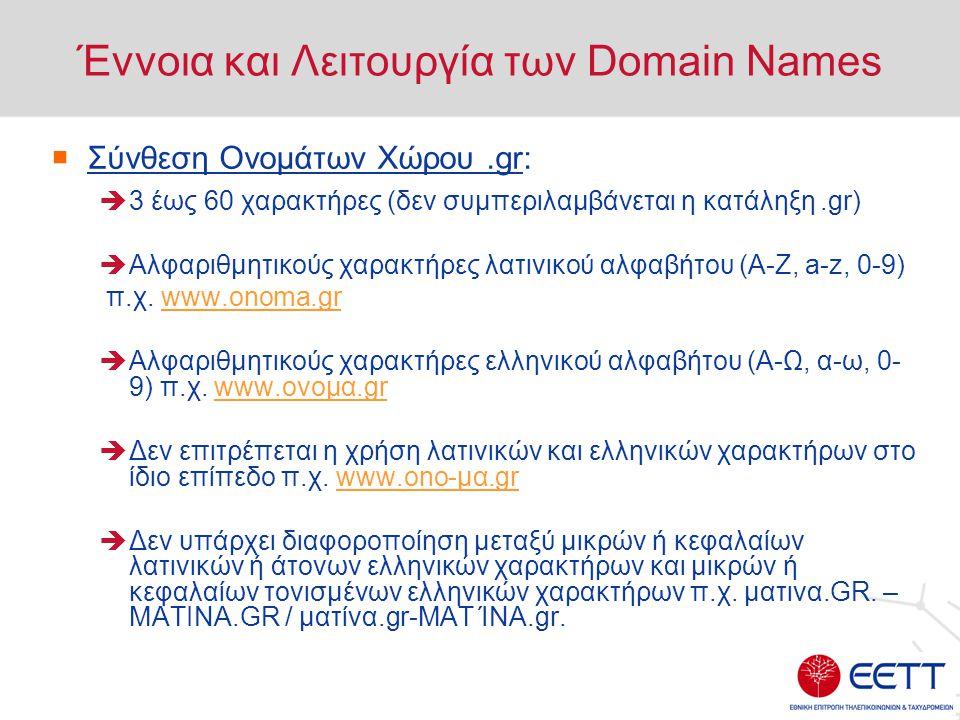 Έννοια και Λειτουργία των Domain Names  Σύνθεση Ονομάτων Χώρου.gr:  3 έως 60 χαρακτήρες (δεν συμπεριλαμβάνεται η κατάληξη.gr)  Αλφαριθμητικούς χαρα