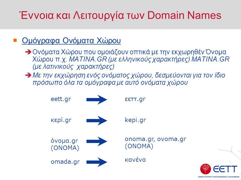 Έννοια και Λειτουργία των Domain Names  Κοινόχρηστα Ονόματα Χώρου με κατάληξη.gr .com.gr : Για όσους ασκούν εμπορική δραστηριότητα (εταιρίες ή ατομικές επιχειρήσεις) .edu.gr : Για εκπαιδευτικούς οργανισμούς .net.gr : Για παρόχους Υπηρεσιών Διαδικτύου (I.S.P.'s) και παρόχους δικτύων .org.gr : Για μη κυβερνητικούς Οργανισμούς .gov.gr : Για κυβερνητικούς Οργανισμούς