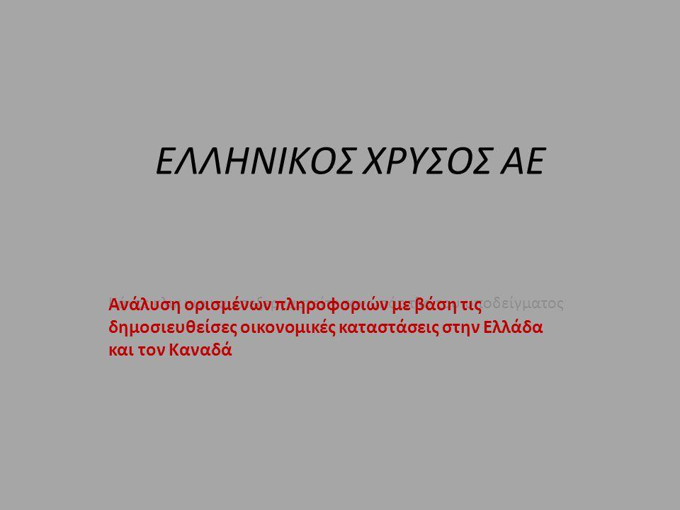 Κάντε κλικ για να επεξεργαστείτε τον υπότιτλο του υποδείγματος ΕΛΛΗΝΙΚΟΣ ΧΡΥΣΟΣ ΑΕ Ανάλυση ορισμένων πληροφοριών με βάση τις δημοσιευθείσες οικονομικές καταστάσεις στην Ελλάδα και τον Καναδά