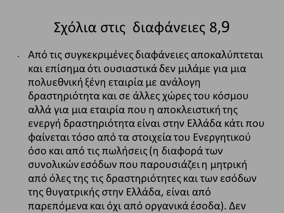 Σχόλια στις διαφάνειες 8, 9 • Από τις συγκεκριμένες διαφάνειες αποκαλύπτεται και επίσημα ότι ουσιαστικά δεν μιλάμε για μια πολυεθνική ξένη εταιρία με ανάλογη δραστηριότητα και σε άλλες χώρες του κόσμου αλλά για μια εταιρία που η αποκλειστική της ενεργή δραστηριότητα είναι στην Ελλάδα κάτι που φαίνεται τόσο από τα στοιχεία του Ενεργητικού όσο και από τις πωλήσεις (η διαφορά των συνολικών εσόδων που παρουσιάζει η μητρική από όλες της τις δραστηριότητες και των εσόδων της θυγατρικής στην Ελλάδα, είναι από παρεπόμενα και όχι από οργανικά έσοδα).