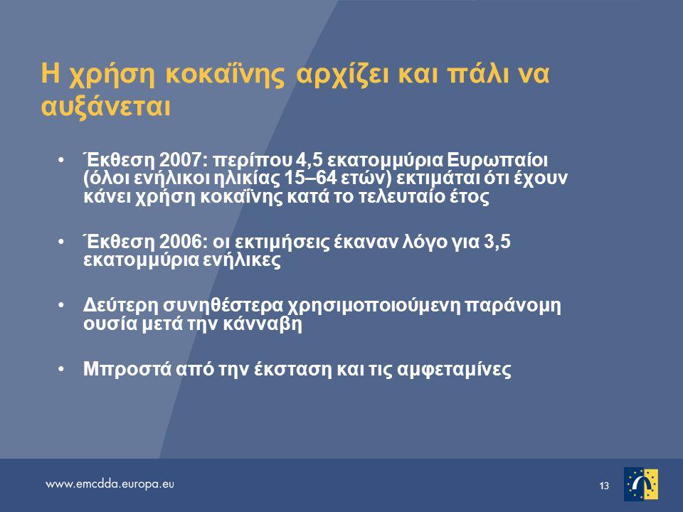 13 Η χρήση κοκαΐνης αρχίζει και πάλι να αυξάνεται •Έκθεση 2007: περίπου 4,5 εκατομμύρια Ευρωπαίοι (όλοι ενήλικοι ηλικίας 15–64 ετών) εκτιμάται ότι έχουν κάνει χρήση κοκαΐνης κατά το τελευταίο έτος •Έκθεση 2006: οι εκτιμήσεις έκαναν λόγο για 3,5 εκατομμύρια ενήλικες •Δεύτερη συνηθέστερα χρησιμοποιούμενη παράνομη ουσία μετά την κάνναβη •Μπροστά από την έκσταση και τις αμφεταμίνες