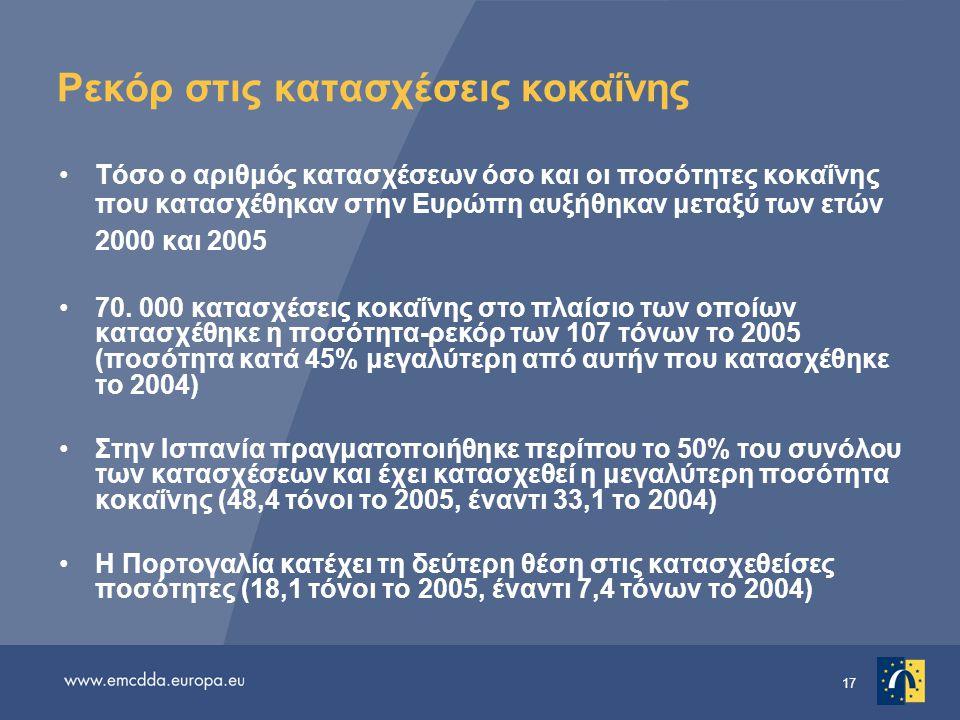 17 Ρεκόρ στις κατασχέσεις κοκαΐνης •Τόσο ο αριθμός κατασχέσεων όσο και οι ποσότητες κοκαΐνης που κατασχέθηκαν στην Ευρώπη αυξήθηκαν μεταξύ των ετών 2000 και 2005 •70.