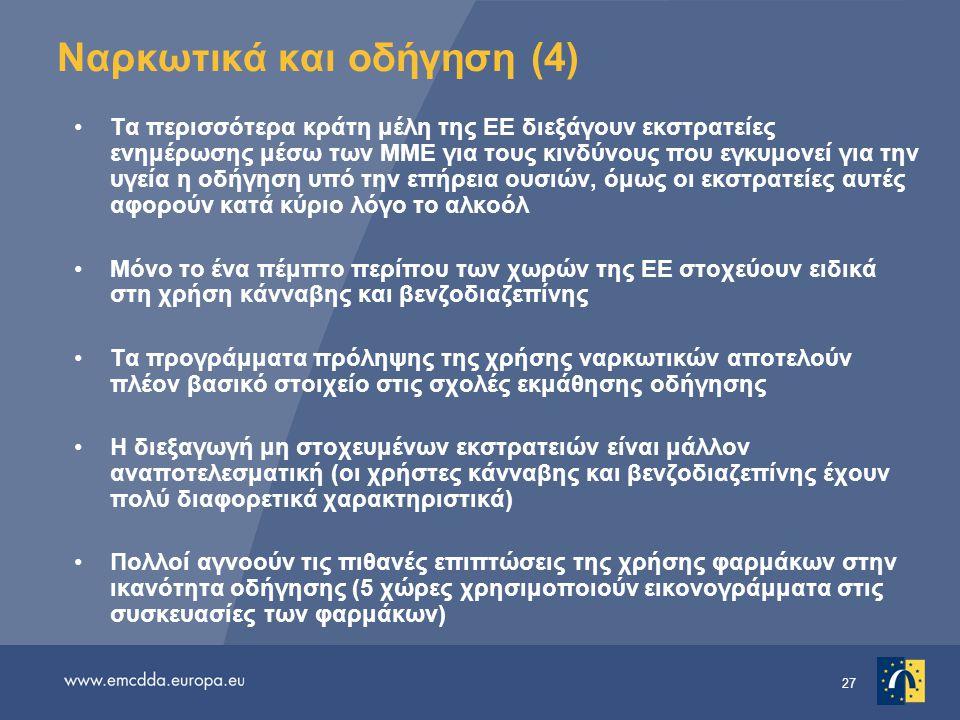 27 Ναρκωτικά και οδήγηση (4) •Τα περισσότερα κράτη μέλη της ΕΕ διεξάγουν εκστρατείες ενημέρωσης μέσω των ΜΜΕ για τους κινδύνους που εγκυμονεί για την υγεία η οδήγηση υπό την επήρεια ουσιών, όμως οι εκστρατείες αυτές αφορούν κατά κύριο λόγο το αλκοόλ •Μόνο το ένα πέμπτο περίπου των χωρών της ΕΕ στοχεύουν ειδικά στη χρήση κάνναβης και βενζοδιαζεπίνης •Τα προγράμματα πρόληψης της χρήσης ναρκωτικών αποτελούν πλέον βασικό στοιχείο στις σχολές εκμάθησης οδήγησης •Η διεξαγωγή μη στοχευμένων εκστρατειών είναι μάλλον αναποτελεσματική (οι χρήστες κάνναβης και βενζοδιαζεπίνης έχουν πολύ διαφορετικά χαρακτηριστικά) •Πολλοί αγνοούν τις πιθανές επιπτώσεις της χρήσης φαρμάκων στην ικανότητα οδήγησης (5 χώρες χρησιμοποιούν εικονογράμματα στις συσκευασίες των φαρμάκων)