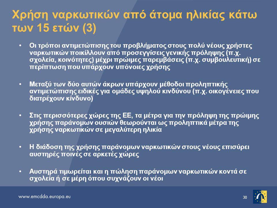 30 Χρήση ναρκωτικών από άτομα ηλικίας κάτω των 15 ετών (3) •Οι τρόποι αντιμετώπισης του προβλήματος στους πολύ νέους χρήστες ναρκωτικών ποικίλλουν από προσεγγίσεις γενικής πρόληψης (π.χ.