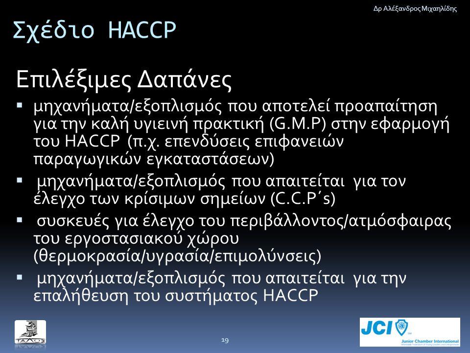 Σχέδιο HACCP Επιλέξιμες Δαπάνες  μηχανήματα/εξοπλισμός που αποτελεί προαπαίτηση για την καλή υγιεινή πρακτική (G.M.P) στην εφαρμογή του HACCP (π.χ. ε