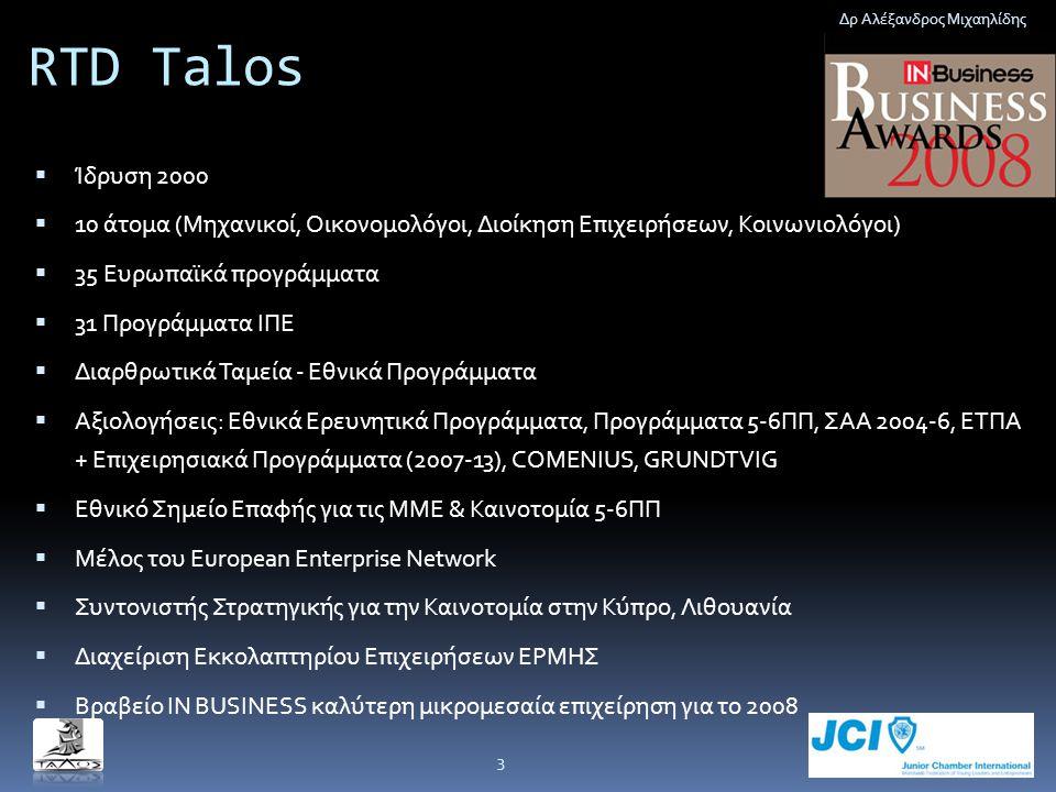 RTD Talos  Ίδρυση 2000  10 άτομα (Μηχανικοί, Οικονομολόγοι, Διοίκηση Επιχειρήσεων, Κοινωνιολόγοι)  35 Ευρωπαϊκά προγράμματα  31 Προγράμματα ΙΠΕ 