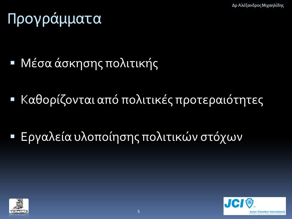 Προγράμματα  Μέσα άσκησης πολιτικής  Καθορίζονται από πολιτικές προτεραιότητες  Εργαλεία υλοποίησης πολιτικών στόχων Δρ Αλέξανδρος Μιχαηλίδης 5