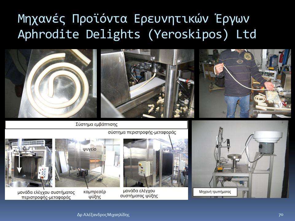 Δρ Αλέξανδρος Μιχαηλίδης 70 Μηχανές Προϊόντα Ερευνητικών Έργων Aphrodite Delights (Yeroskipos) Ltd