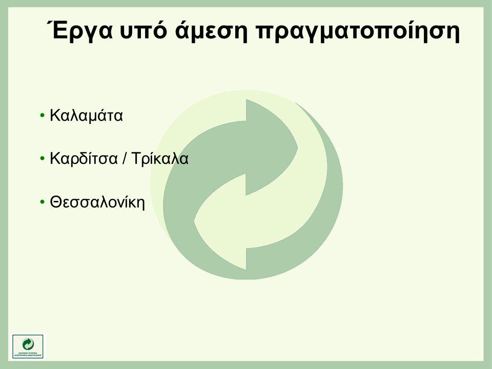 Έργα υπό άμεση πραγματοποίηση • Καλαμάτα • Καρδίτσα / Τρίκαλα • Θεσσαλονίκη