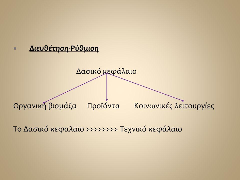  Διευθέτηση-Ρύθμιση Δασικό κεφάλαιο Οργανική βιομάζα Προϊόντα Κοινωνικές λειτουργίες Το Δασικό κεφαλαιο >>>>>>>> Τεχνικό κεφάλαιο