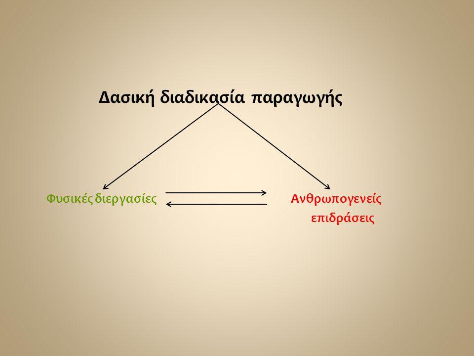 Δασική διαδικασία παραγωγής Φυσικές διεργασίες Ανθρωπογενείς επιδράσεις
