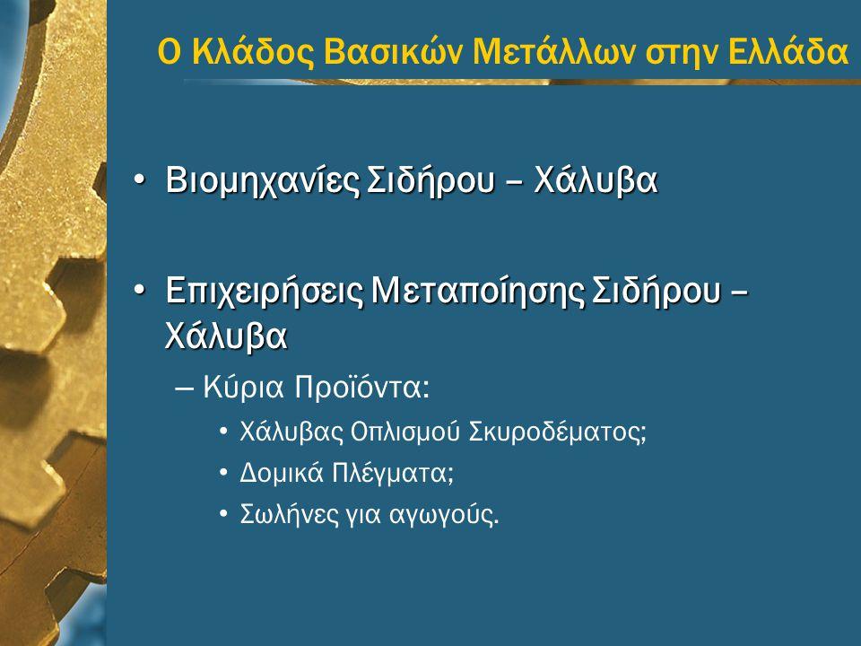 Ο Κλάδος Βασικών Μετάλλων στην Ελλάδα • Βιομηχανίες Σιδήρου – Χάλυβα • Επιχειρήσεις Μεταποίησης Σιδήρου – Χάλυβα – Κύρια Προϊόντα: • Χάλυβας Οπλισμού