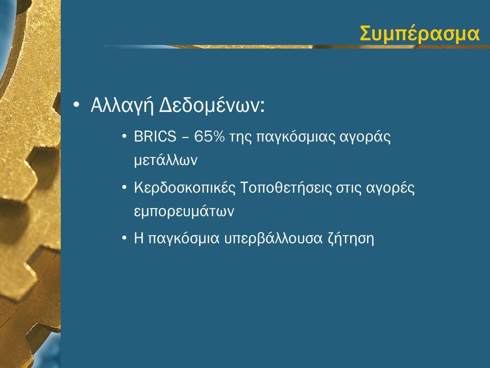 Συμπέρασμα • Αλλαγή Δεδομένων: • BRICS – 65% της παγκόσμιας αγοράς μετάλλων • Κερδοσκοπικές Τοποθετήσεις στις αγορές εμπορευμάτων • Η παγκόσμια υπερβά