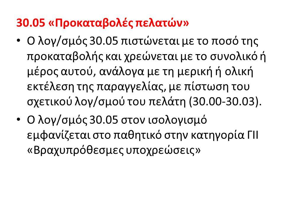30.05 «Προκαταβολές πελατών» • Ο λογ/σμός 30.05 πιστώνεται με το ποσό της προκαταβολής και χρεώνεται με το συνολικό ή μέρος αυτού, ανάλογα με τη μερικ