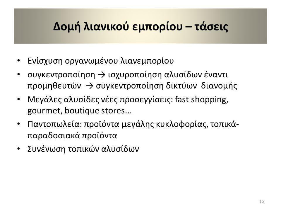Δομή λιανικού εμπορίου – τάσεις • Ενίσχυση οργανωμένου λιανεμπορίου • συγκεντροποίηση → ισχυροποίηση αλυσίδων έναντι προμηθευτών → συγκεντροποίηση δικτύων διανομής • Μεγάλες αλυσίδες νέες προσεγγίσεις: fast shopping, gourmet, boutique stores...
