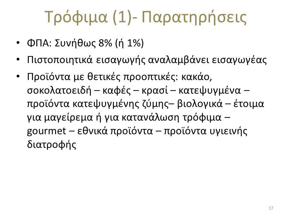Τρόφιμα (1)- Παρατηρήσεις • ΦΠΑ: Συνήθως 8% (ή 1%) • Πιστοποιητικά εισαγωγής αναλαμβάνει εισαγωγέας • Προϊόντα με θετικές προοπτικές: κακάο, σοκολατοειδή – καφές – κρασί – κατεψυγμένα – προϊόντα κατεψυγμένης ζύμης– βιολογικά – έτοιμα για μαγείρεμα ή για κατανάλωση τρόφιμα – gourmet – εθνικά προϊόντα – προϊόντα υγιεινής διατροφής 17
