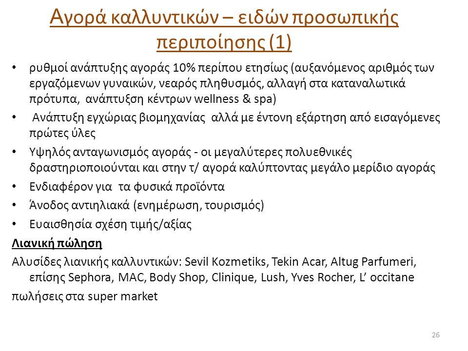 Α γορά καλλυντικών – ειδών προσωπικής περιποίησης (1) • ρυθμοί ανάπτυξης αγοράς 10% περίπου ετησίως (αυξανόμενος αριθμός των εργαζόμενων γυναικών, νεα