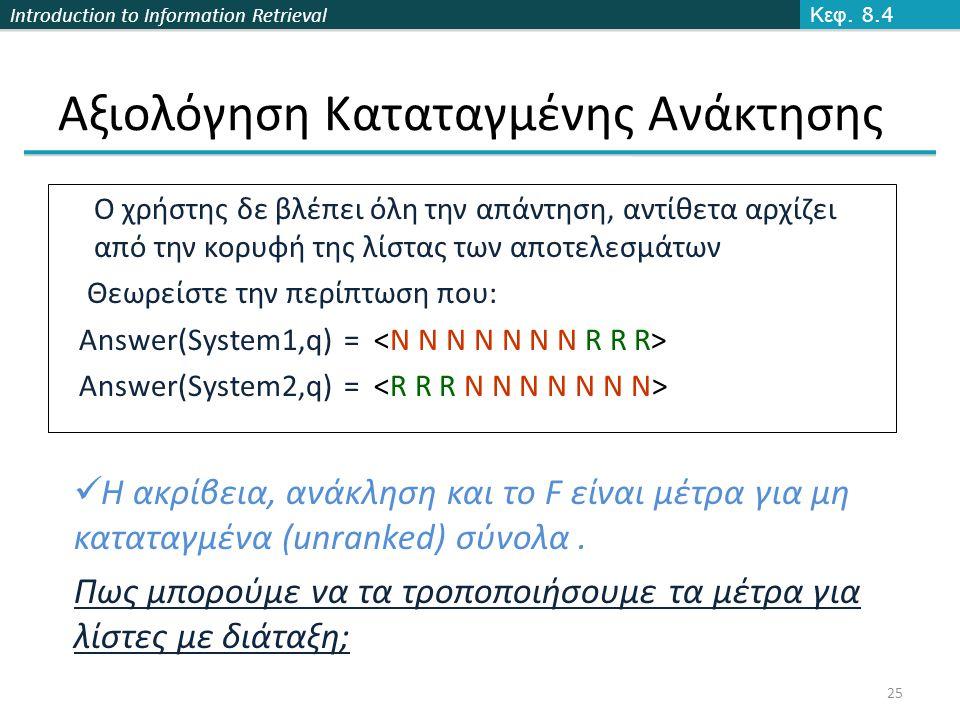 Introduction to Information Retrieval Αξιολόγηση Καταταγμένης Ανάκτησης Κεφ.