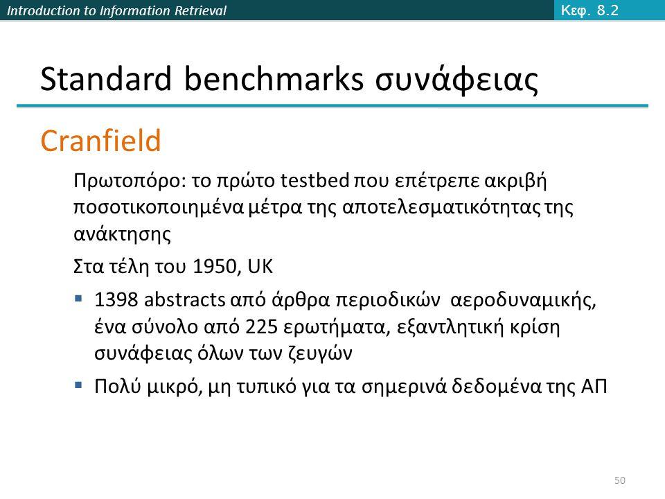 Introduction to Information Retrieval 50 Standard benchmarks συνάφειας Cranfield Πρωτοπόρο: το πρώτο testbed που επέτρεπε ακριβή ποσοτικοποιημένα μέτρα της αποτελεσματικότητας της ανάκτησης Στα τέλη του 1950, UK  1398 abstracts από άρθρα περιοδικών αεροδυναμικής, ένα σύνολο από 225 ερωτήματα, εξαντλητική κρίση συνάφειας όλων των ζευγών  Πολύ μικρό, μη τυπικό για τα σημερινά δεδομένα της ΑΠ Κεφ.
