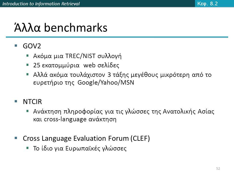 Introduction to Information Retrieval Άλλα benchmarks  GOV2  Ακόμα μια TREC/NIST συλλογή  25 εκατομμύρια web σελίδες  Αλλά ακόμα τουλάχιστον 3 τάξ