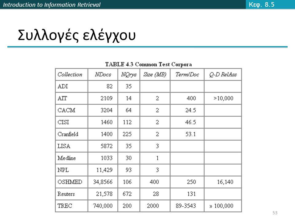 Introduction to Information Retrieval 53 Συλλογές ελέγχου Κεφ. 8.5