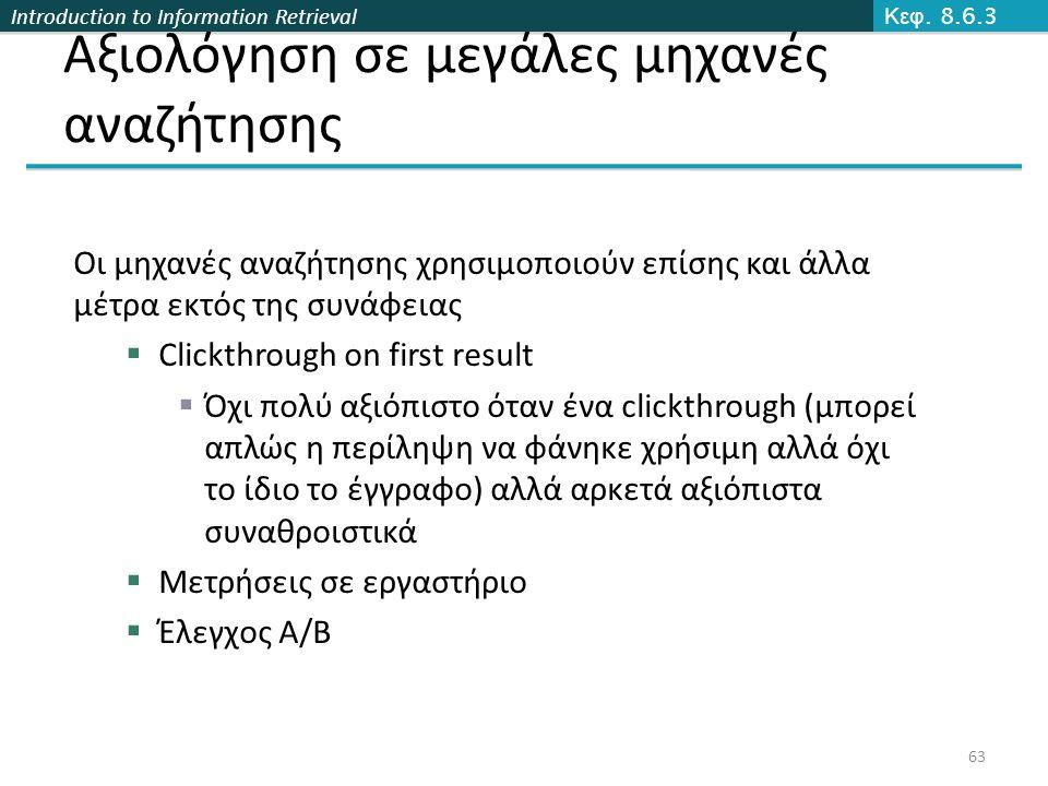 Introduction to Information Retrieval Αξιολόγηση σε μεγάλες μηχανές αναζήτησης Οι μηχανές αναζήτησης χρησιμοποιούν επίσης και άλλα μέτρα εκτός της συν