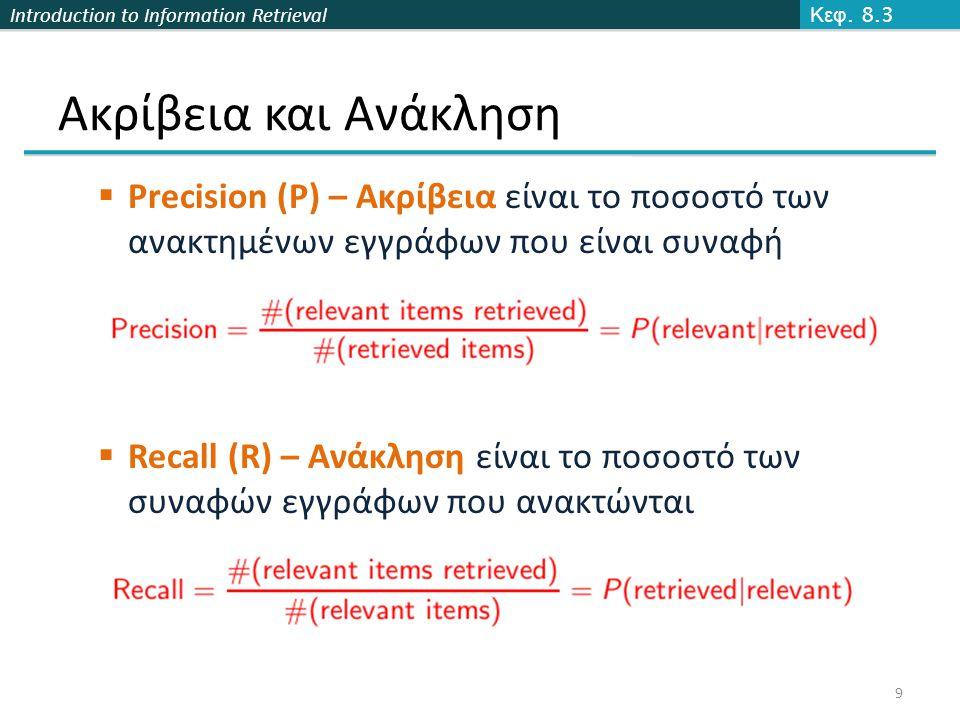 Introduction to Information Retrieval Ακρίβεια και Ανάκληση  Precision (P) – Ακρίβεια είναι το ποσοστό των ανακτημένων εγγράφων που είναι συναφή  Recall (R) – Ανάκληση είναι το ποσοστό των συναφών εγγράφων που ανακτώνται Κεφ.