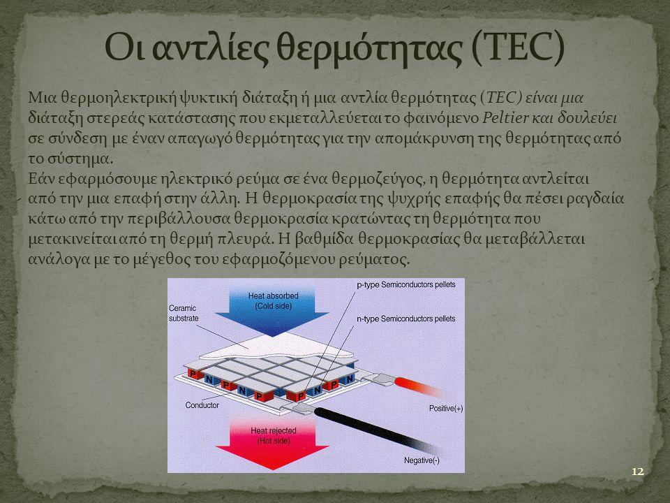 12 Μια θερμοηλεκτρική ψυκτική διάταξη ή μια αντλία θερμότητας (TEC) είναι μια διάταξη στερεάς κατάστασης που εκμεταλλεύεται το φαινόμενο Peltier και δ