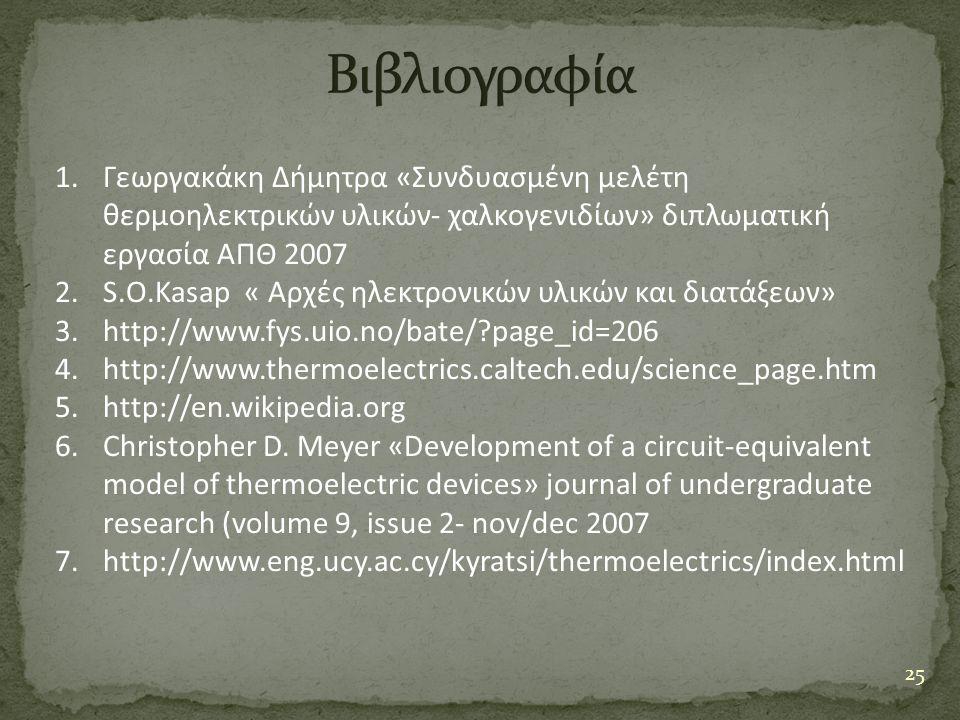 25 1.Γεωργακάκη Δήμητρα «Συνδυασμένη μελέτη θερμοηλεκτρικών υλικών- χαλκογενιδίων» διπλωματική εργασία ΑΠΘ 2007 2.S.O.Kasap « Αρχές ηλεκτρονικών υλικώ