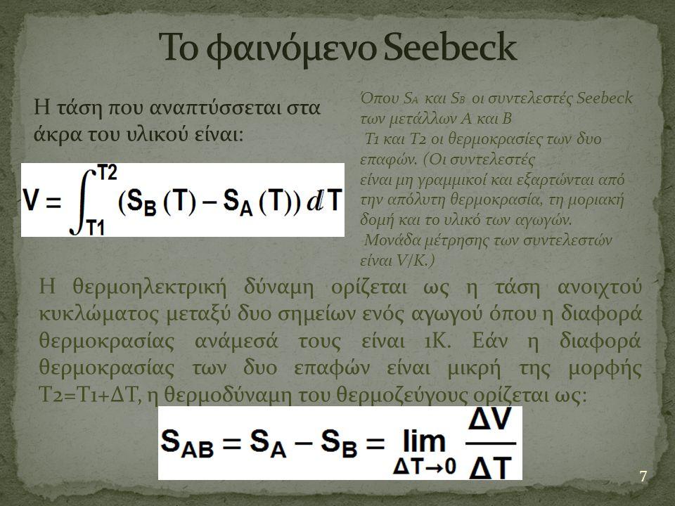 7 Όπου S A και S B οι συντελεστές Seebeck των μετάλλων Α και Β Τ1 και Τ2 οι θερμοκρασίες των δυο επαφών. (Οι συντελεστές είναι μη γραμμικοί και εξαρτώ