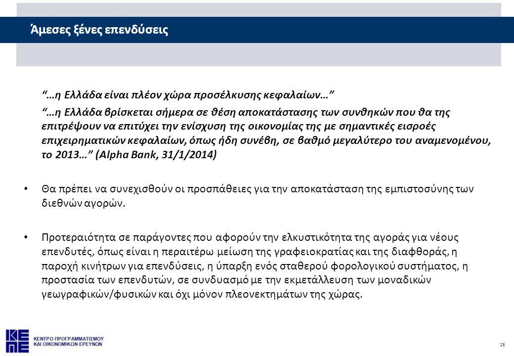 28 Άμεσες ξένες επενδύσεις …η Ελλάδα είναι πλέον χώρα προσέλκυσης κεφαλαίων… …η Ελλάδα βρίσκεται σήμερα σε θέση αποκατάστασης των συνθηκών που θα της επιτρέψουν να επιτύχει την ενίσχυση της οικονομίας της με σημαντικές εισροές επιχειρηματικών κεφαλαίων, όπως ήδη συνέβη, σε βαθμό μεγαλύτερο του αναμενομένου, το 2013… (Alpha Bank, 31/1/2014) • Θα πρέπει να συνεχισθούν οι προσπάθειες για την αποκατάσταση της εμπιστοσύνης των διεθνών αγορών.