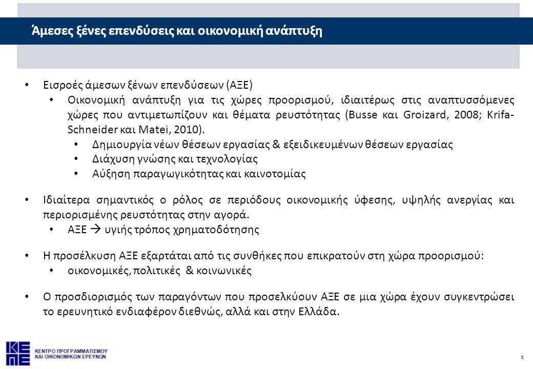 5 Άμεσες ξένες επενδύσεις και οικονομική ανάπτυξη • Εισροές άμεσων ξένων επενδύσεων (ΑΞΕ) • Οικονομική ανάπτυξη για τις χώρες προορισμού, ιδιαιτέρως στις αναπτυσσόμενες χώρες που αντιμετωπίζουν και θέματα ρευστότητας (Busse και Groizard, 2008; Krifa-Schneider και Matei, 2010).