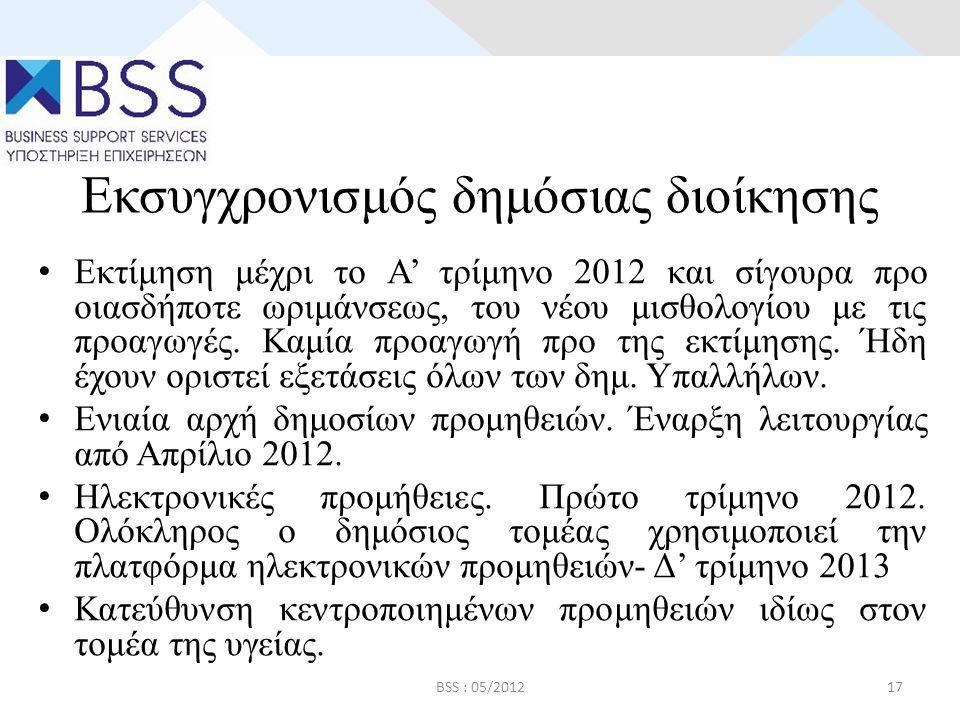 Εκσυγχρονισμός δημόσιας διοίκησης • Εκτίμηση μέχρι το Α' τρίμηνο 2012 και σίγουρα προ οιασδήποτε ωριμάνσεως, του νέου μισθολογίου με τις προαγωγές.